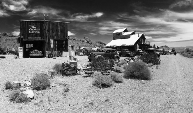 Ghost town eldorado old cars old buildings desert scenery black and white