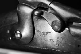 black and white macro photo antique springfield rifle