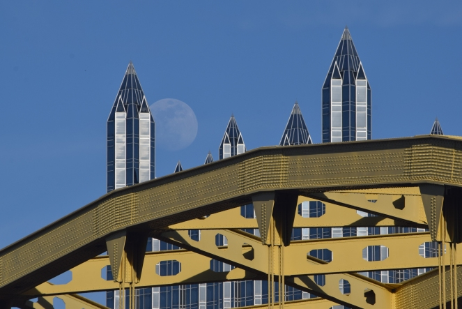 moonrise ppg building fort pitt bridge pittsburgh