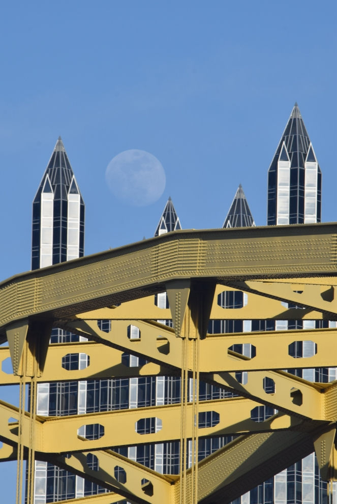 moon over ppg tower fort pitt bridge pittsburgh