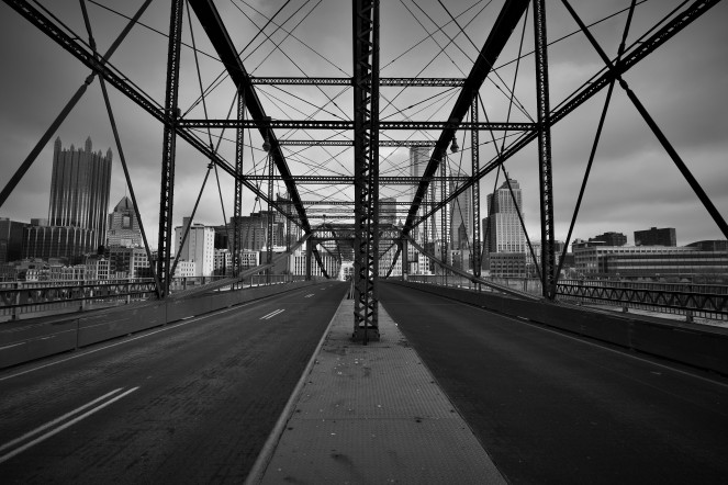Smithfield St Bridge Downtown Pittsburgh black and white