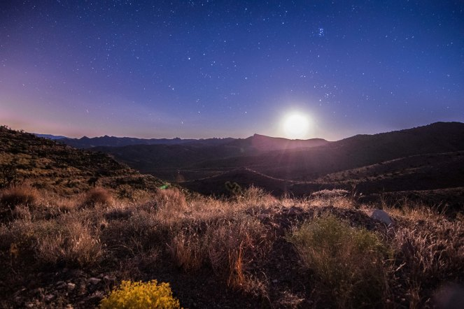 moonrise stars Mojave desert