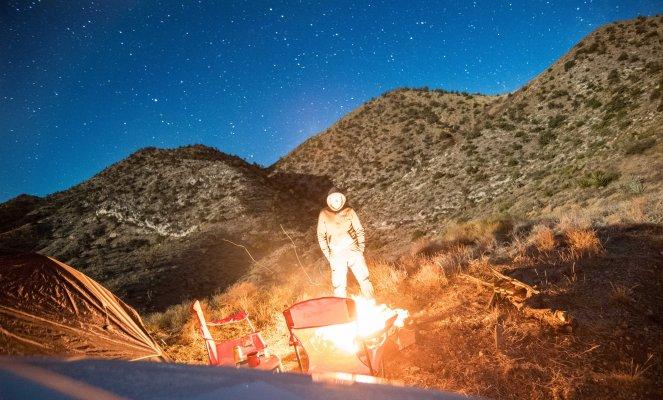 campfire Mojave desert campsite tent camping