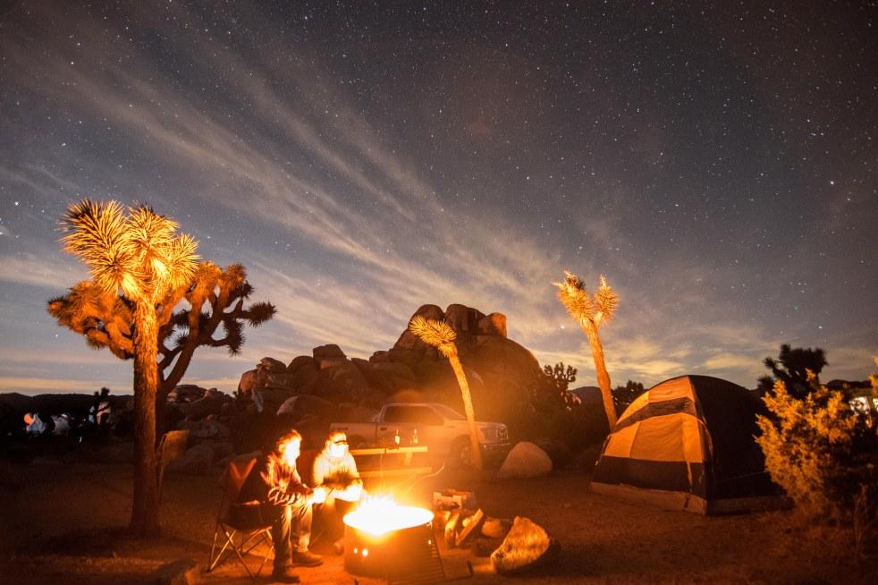 campfire campsite joshua tree national park camp tent camping stars starry sky