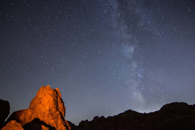 Milky Way galaxy stars starry mountain rock formation