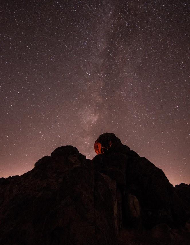 campfire Milky Way galaxy campsite California rock formation