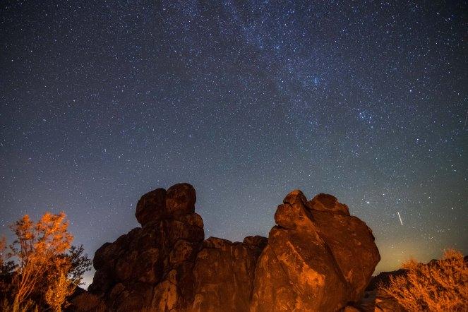 Milky Way galaxy campfire rock formation stars California