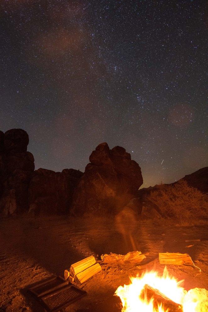 Milky Way galaxy campfire California desert