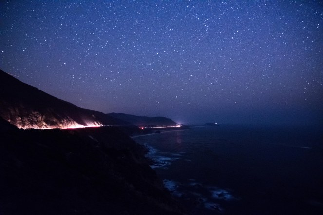 Milky Way galaxy over Big Sur California. Pacific Ocean. Waves. Constellations. Stars. Starry night. Dark sky. Dark skies. long exposure.