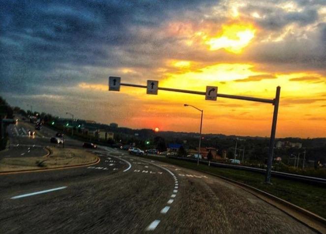 sunset motorcycle harley davidson blurry road