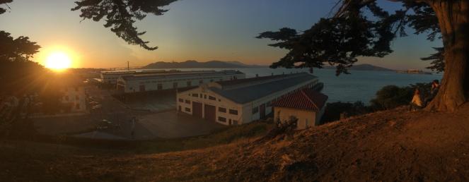 Sunset Fort Mason San Francisco Golden Gate Bridge Alcatraz Island San Francisco Bay