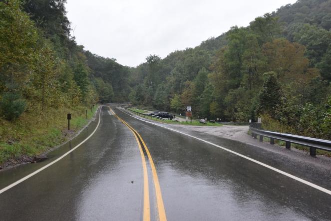 Cucumber Falls parking lot Ohiopyle Road Laurel Highlands Western Pennsylvania
