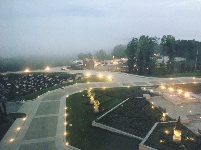 grey gray foggy rainy weather at Nemacolin Woodlands Chateau