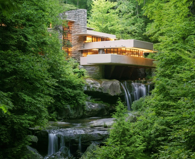 Fallingwater house over Bear Run creek and waterfall, designed by Frank Lloyd Wright