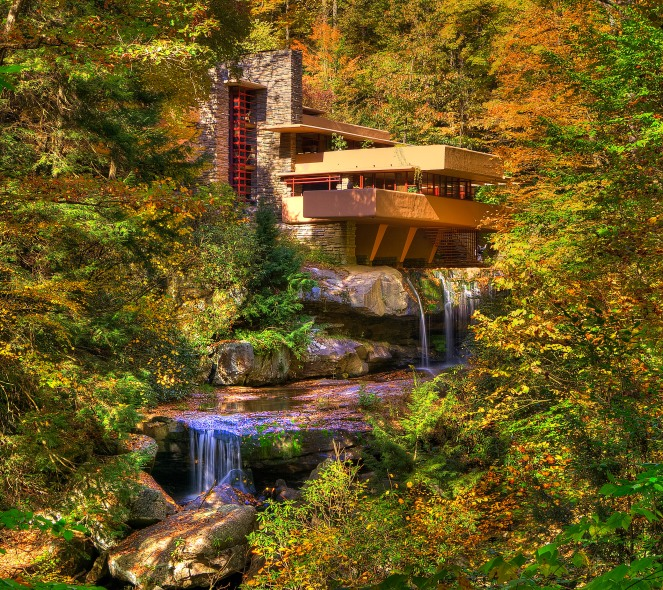 Fallingwater house Frank Lloyd Wright fall colors changing leaves waterfall