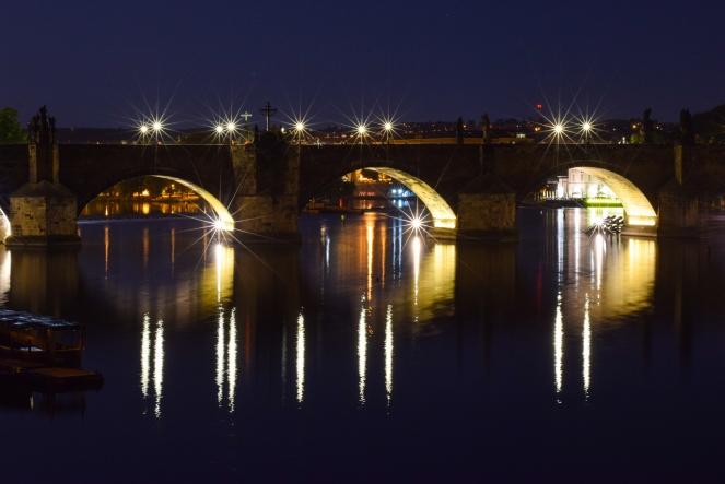 charles bridge karluv most blue hour prague long exposure night shot starburst