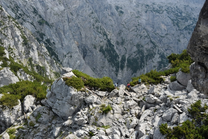 rocks mountains alps valley danger perspective scale mountain huge