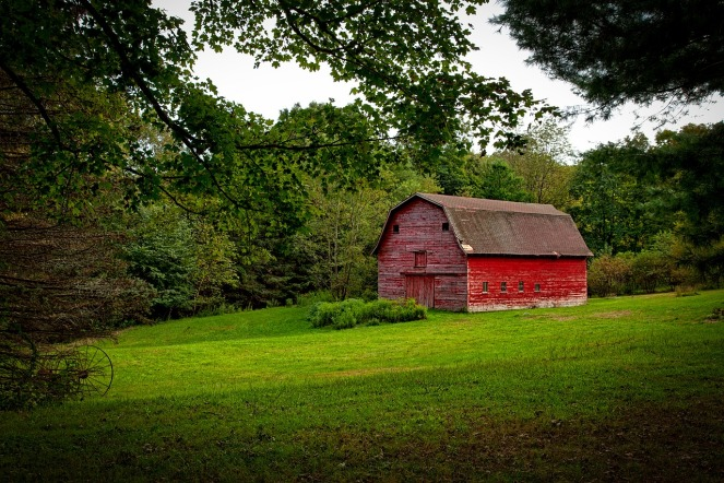 red barn trees shrubs farmland antique plough plow