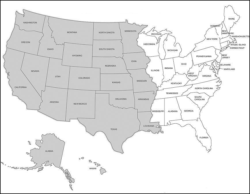US Map American map dividing states between east and west of the mississippi river